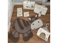 Mamas and papas Zeddy and Parsnip nursery set - quilt, bumper, nappy sack, rug & canvases
