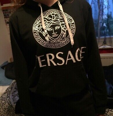 black and white versace hoodie, second hand but in 10/10 condition, kids size L