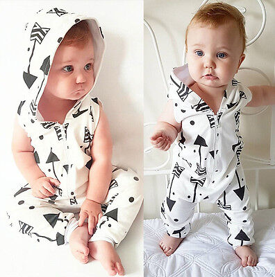 USA Cute Newborn Infant Baby Romper Hooded Jumpsuit Boys Girls Clothes - Cute Usa Outfits