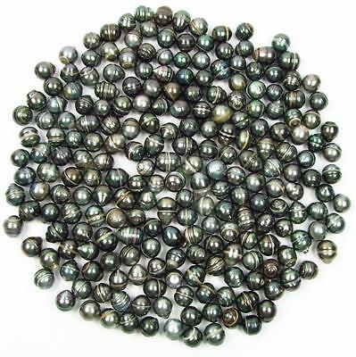 10 pcs 9-10mm Undrilled Circle Baroque Loose Tahitian Black Pearl