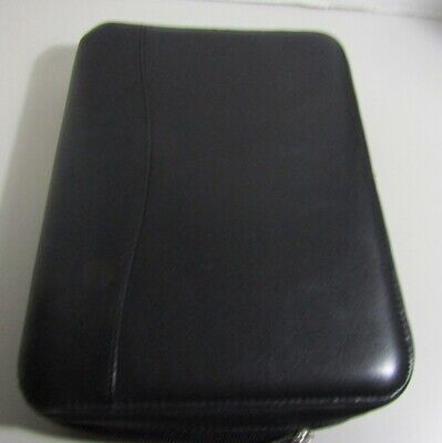 Franklin Covey Classic Black Leather Planner Zipper 1.5 6 Ring Binder Organizer
