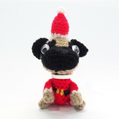 PUG SANTA CLAUS COSTUME CROCHET AMIGURUMI DOG STUFFED TOY HANDMADE KEY - Pug Santa Costume