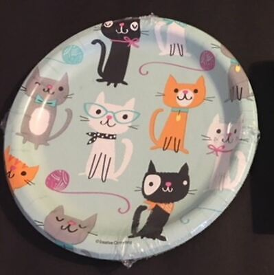 - CATS PURR-FECT birthday PARTY (8 ct) small paper dessert PLATES No PayPal