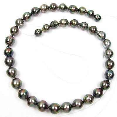 "8.5-12mm Baroque Tahitian Black / Peacock Green Pearls 16.5"" Loose Strand"