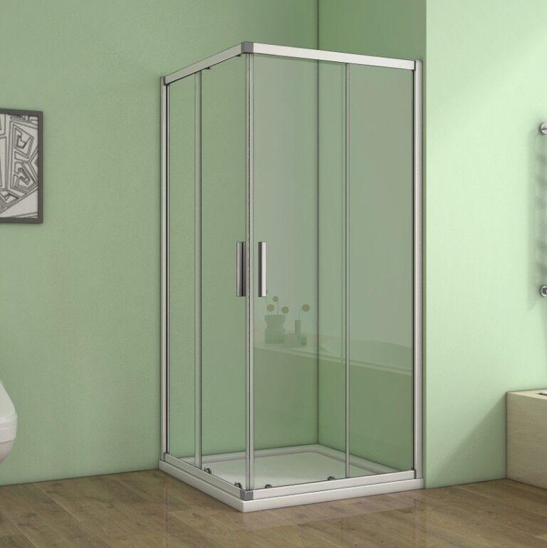 Duschabtrennung Duschkabine Schiebetür Eckeinstieg Echtglas Dusche Duschtasse CR