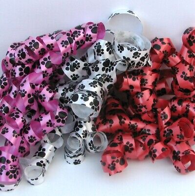 bbon Red, White or Pink 50m x 11mm (Paw Print Ribbon)