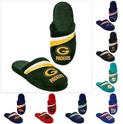 NFL Football 2013 Womens Team Color Logo Stripe Glitter Slide Slippers New