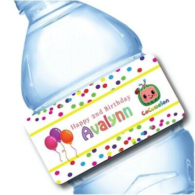 Water Bottle Wrappers (20 Cocomelon Party Favor Water Bottle Labels)