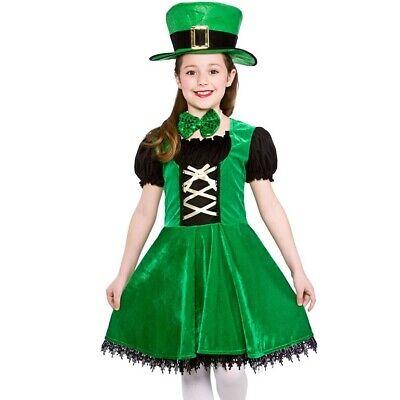 Childrens Deluxe Kobold Mädchen Kostüm Verkleidung Kinder st Patricks Tag - St Patrick Kostüm Kinder