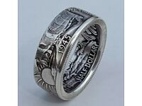 Retro Men 925 Silver Handmade Coin Vintage Morgan Carved Rings Jewelry Size 9