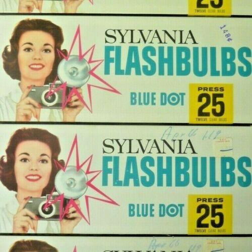 4 DOZEN Minty SYLVANIA Press 25 Blue Dot FLASH BULBS Vintage NOS