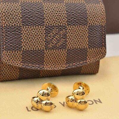 Auth Louis Vuitton Damier Cuff Links Case & Cuff Links Goldtone M30964 #S2418