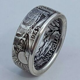 Retro Men 925 Silver Handmade Coin Vintage Morgan Carved Rings Jewelry Size 6