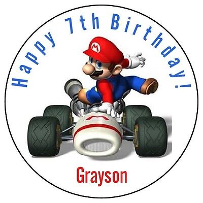 SUPER MARIO KART Birthday Party Favor Stickers Personalized Labels