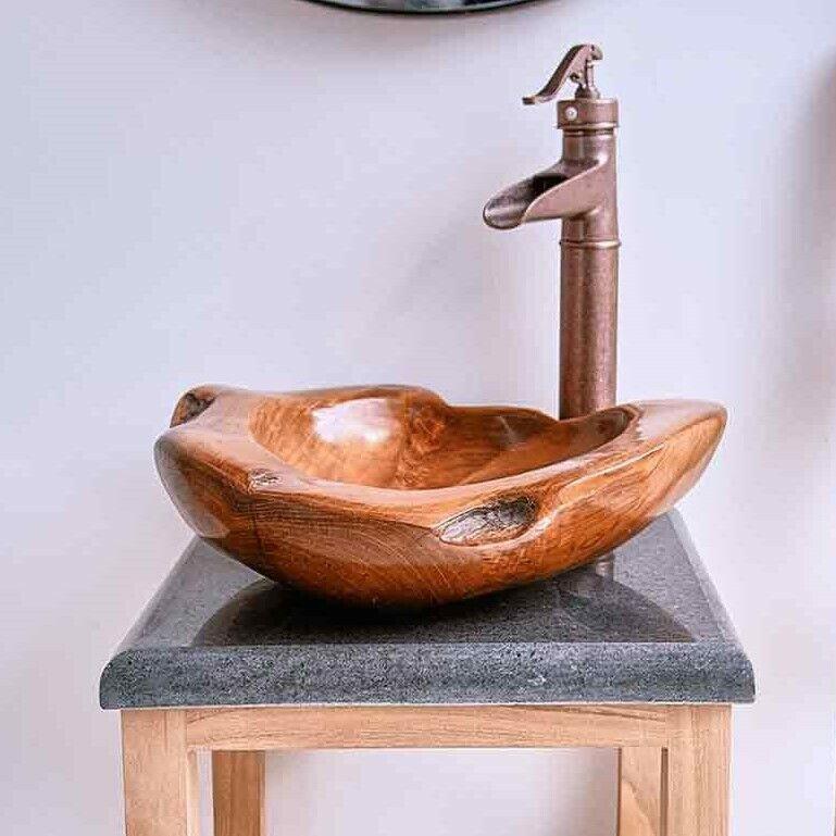 WOHNFREUDEN Aufsatzwaschbecken Waschbecken Holz ca 45 cm lasiert Bad Waschbecken