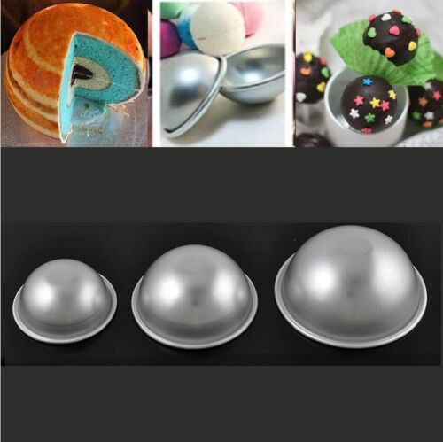 2x Ball Shaped Round Half Sphere Cake Pan Tin Fondant