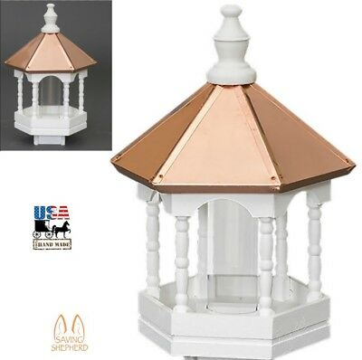 "22"" COPPER TOP BIRD FEEDER - Gazebo with Elegant Spindles Amish Handmade in USA"