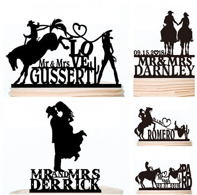 Cowboy Hat Wedding Cake Topper Boots Horse Bride and Groom Silhouette Decoration