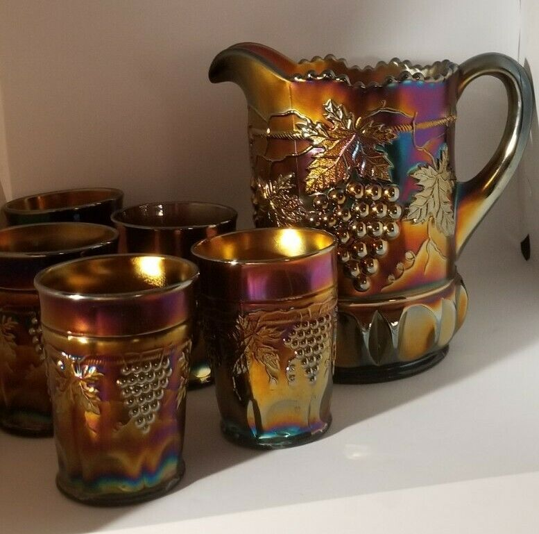 Northwood Grape Cable Carnival Glass Water Pitcher & 5 Tumblers Set Purple Gold