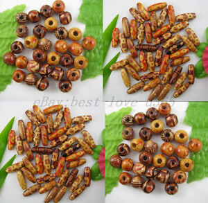 FREE-SHIP-Lot-of-100pcs-Mixed-Round-Oval-Charms-Wood-Beads-Many-Sizes-Shapes