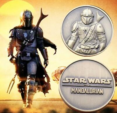 Star Wars~The Mandalorian~Bronze Tone~Bas Relief~Collector Coin~39MM~Case~Pouch