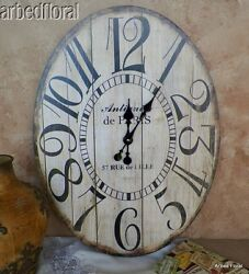 23 Wooden Large Antiquite De Paris Oval Wall Clock French Decor