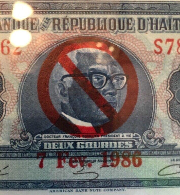 HAITI    2  GOURDES L. 1979  M  TYVEK   PICK # 231A  Propaganda Overprint