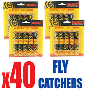 40 x Sticky Fly Bug Wasp Insect - Poison Free Paper Trap Catchers Traps