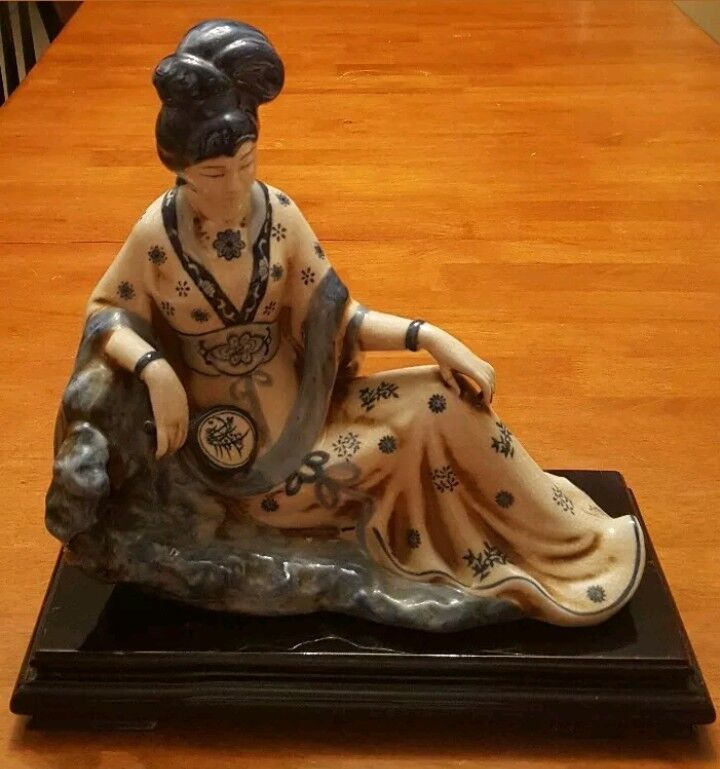 Porcelain Oriental Woman With Mirror by The Bombay Company Blue and White