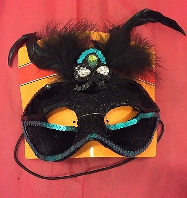 Spooky Village Masquerade Mask Black And Blue](Spooky Masks)