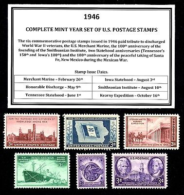 1946 COMPLETE YEAR SET OF MINT -MNH- VINTAGE U.S. POSTAGE STAMPS