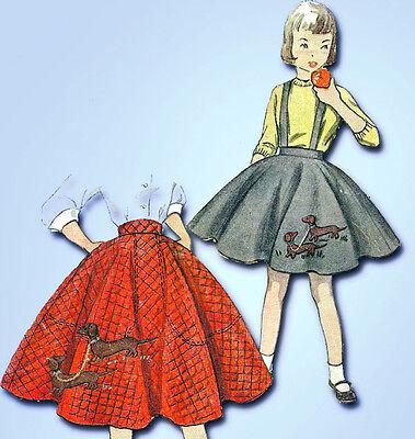 1950s Vintage Simplicity Nähmuster 3987 Uncut Einfach Mädchen Pudel Rock Sz 12