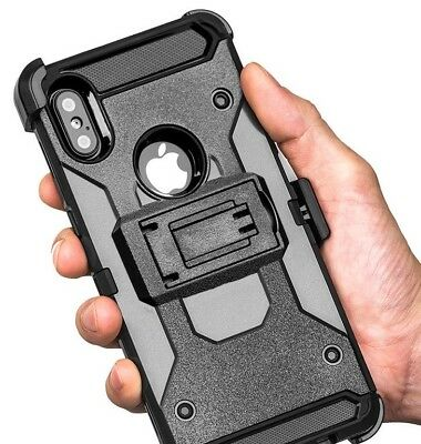 For iPhone X / XS / 10S - HARD HYBRID ARMOR CASE BLACK HOLSTER with BELT  CLIP