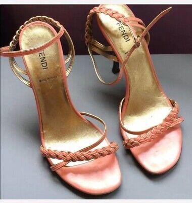 Authentic Fendi Coral Braided Heels