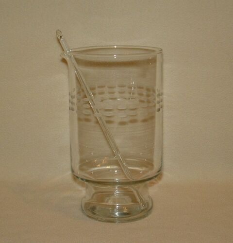 Vintage Crystal Mixed Drink Pitcher Etched Glass With Original Stirrer ~ 32 Oz.