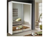 PAYMENT ON DELIVERY ** BERLIN 2 DOOR SLIDING #WARDROBE WITH FULL MIRROR -EXPRESS DELIVERY