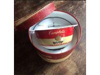 CAMPBELL'S ceramic soup bowls plates 2x