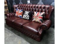 Stunning Chesterfield 3 Seater Sofa High Back Monk Oxblood Red Leather - UK Delivery