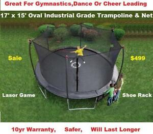 New 17 ft Trampoline & Safety Net Enclosure Combo Sale, Real Safe,10 Year Warranty, Great Bounce, Shoe Rack, Shipping