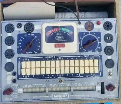 Vintage Jackson Mod. 648 Dynamic Tube Tester Wbox Instruction Powers Up