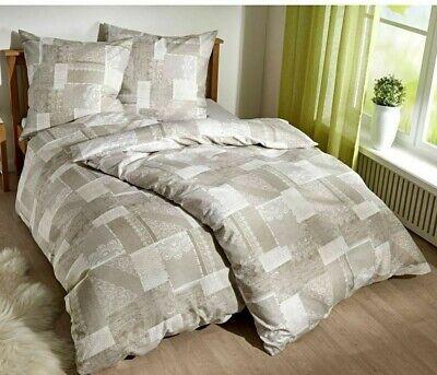 Landhaus-stil Bettwäsche (Französische Bettwäsche Bettgarnitur 200x200 + 65x65 Beige Landhausstil)