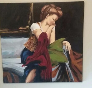 """Reproduction of """"Anticipation """" oil painting."""