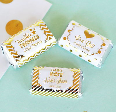 24 Personalized Foil Baby Shower Themed Mini Candy Bar Labels Baby Shower Favors (Candy Themed Baby Shower)
