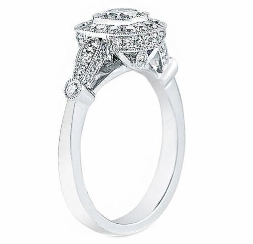 1 carat Cushion Cut GIA Certified Diamond Engagement Halo Style Ring 18k Whit... 2