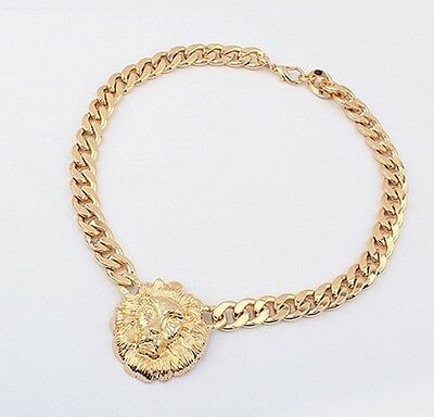 Used, Fashion Jewelry Lion Statement Head Gold Women Pendant Choker Bib Necklace Chain for sale  China