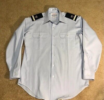 United States Coast Guard Creighton Mens Uniform Shirt Blue Flap Pockets 15-33