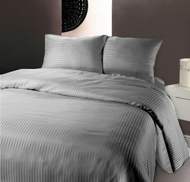 Hotel Look QUEEN BED GREY GRAY Fitted BedSheet +2 Pillowcase Set