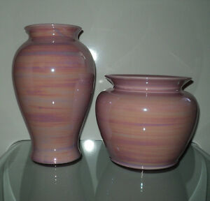 NEW 2 PINK SWIRL DESIGN DECORATIVE VASES HOME DECOR SEARS NWT Cornwall Ontario image 4