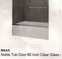 MAAX NOBLE TUB DOOR 60 INCH CLEAR GLASS - CHROME 8MM SOFT CLOSE
