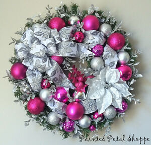 Silver & Pink Sparkle Christmas Wreath/ Fuchsia Holiday Wreath